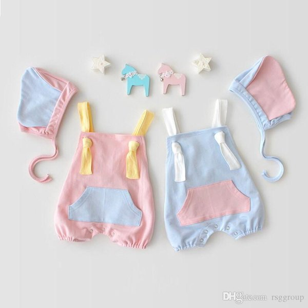 Spring Summer Toddler Baby Boys Girls Rompers Cotton Patchwork Designs Soft Fabric Belt Jumpsuits with Cat Hat 2pieces Set Newborn Bodysuits