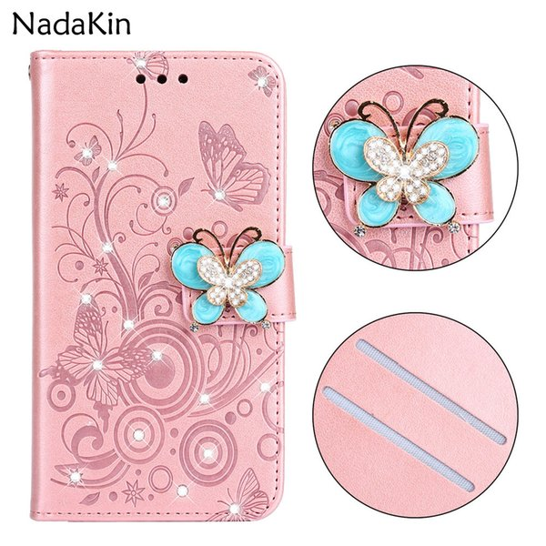 Luxury Bling Diamond Book Case for Xiaomi Pocophone F1 Redmi 5 Plus 5A Note 6 Pro Flip Cover Glitter Shell Butterfly Rhinestone