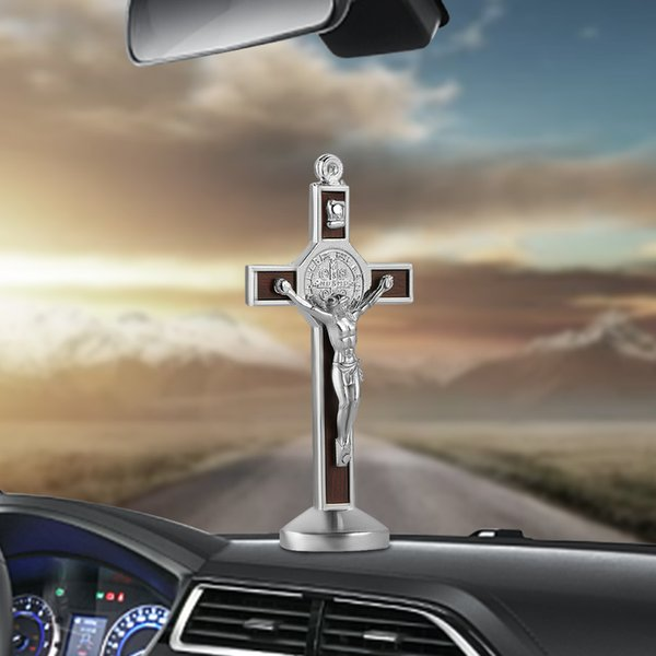 Fashion Car Ornament Metal Wood Jesus Cross Crucifix Auto Interior Dashboard Decoration Christian Jesus Ornaments Accessories