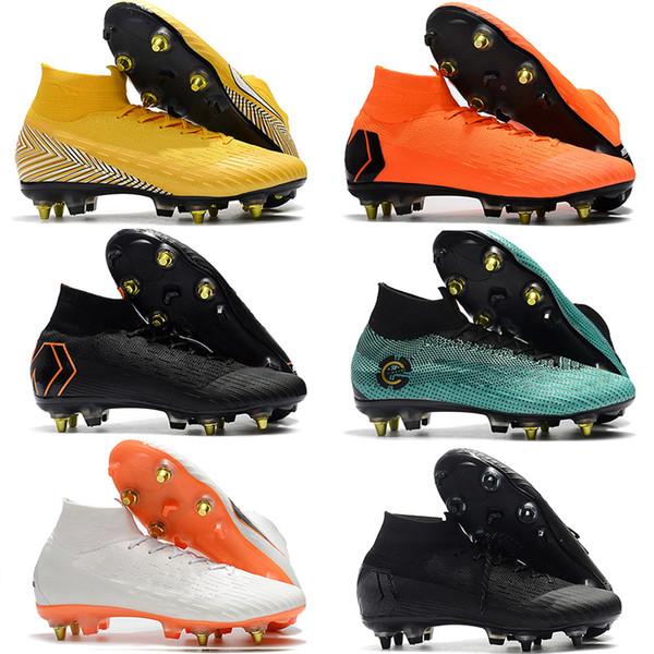 Cristiano Ronaldo Chaussures de Plein Air Homme Mercurial Superfly CR7 VI SG Bottes de Football Chaussettes Haute Cheville ACC Chaussons de Football Rouge Or Noir