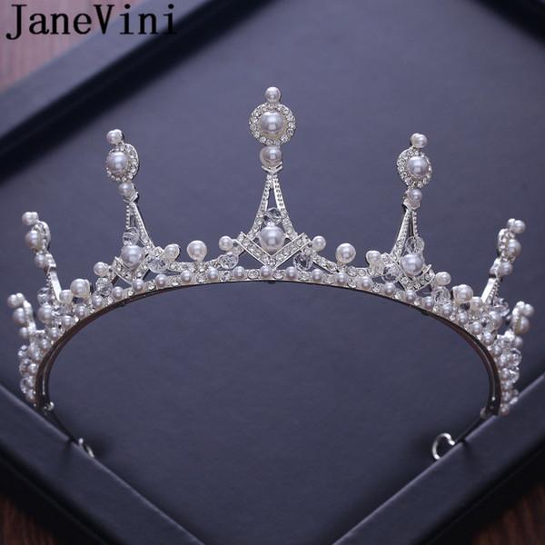 JaneVini Strass Argent Mariée Diadèmes et Headpieces Princesse De La Couronne Perles Accessoires De Cheveux De Mariage Bandeau Bijoux De Mode