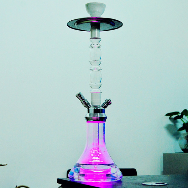 High Quality Innovative Design Acrylic Hookah Shisha With Metal Tray Smoking Pipe LED Light Shisha Set With Hose