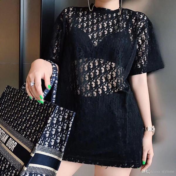 Designer de Mulheres Carta Blusa 2019 Verão Runway Moda Em Torno Do Pescoço de Manga Curta Tops Sexy Oversized Camisas Partido Tees Streetwear
