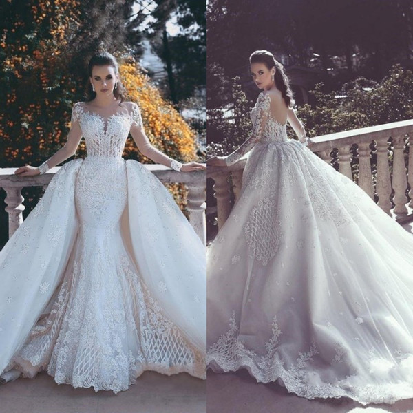 High Quality 2019 Mermaid Wedding Dresses with Detachable Train Illusion Neck Sheer Long Sleeves Lace Appliuqed Diamonds Beaded Bridal Gowns