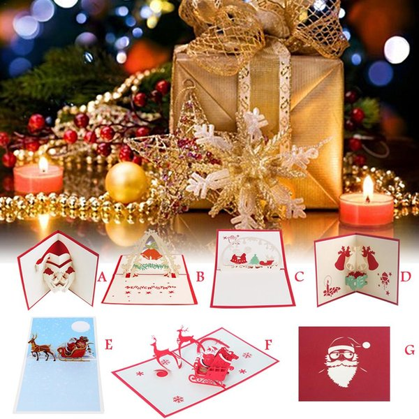 Handmade Christmas Card Images.3d Innovative Christmas Card Hollowpaper Sculpture Handmade Christmas Greeting Card Home Decoration Santa Claus Bell Series Friendship Cards Fun Cards