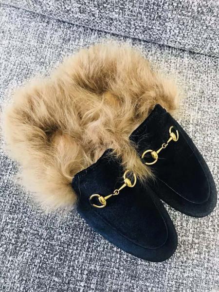 Peluche casual chaussures pour femmes de mode de luxe en métal boucles mocassins fille plate baskets côtés sandales designer dame pantoufles plus récent 3A
