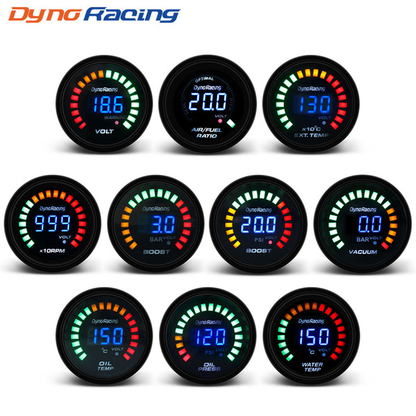 "top popular Dynoracing 2"" 52MM Digital 20 LED Boost bar psi Vacuum Water temp Oil temp Oil press Voltmeter Air fuel ratio EGT temp RPM Gauge 2021"