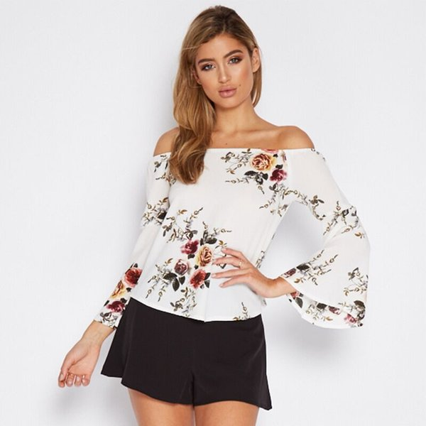 Bayan Gömlek 2019 Yeni Moda Baskı En Eğlence Tatil Plaj Giysileri Seksi Off-omuz Takip Desen Tops 3 Stilleri Yüksek Kalite 3 Stilleri