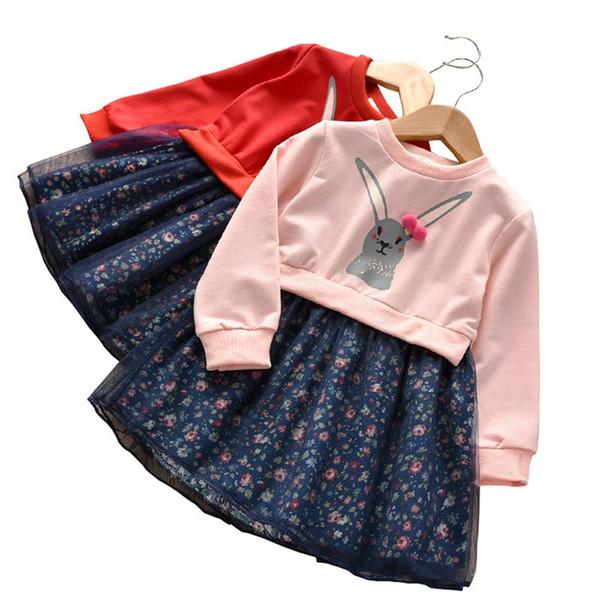 Children Girl Baby Clothes Cartoon Rabbit Splice Floral Princess Dress Long Sleeve Dresses Girls Fashion Clothing