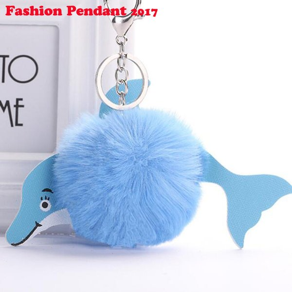 Cute New Fluffy Dolphin Ball Keychain Pompom Artificial Rabbit Fur Key Chain Women Car Bag Key Ring Accessories Gift