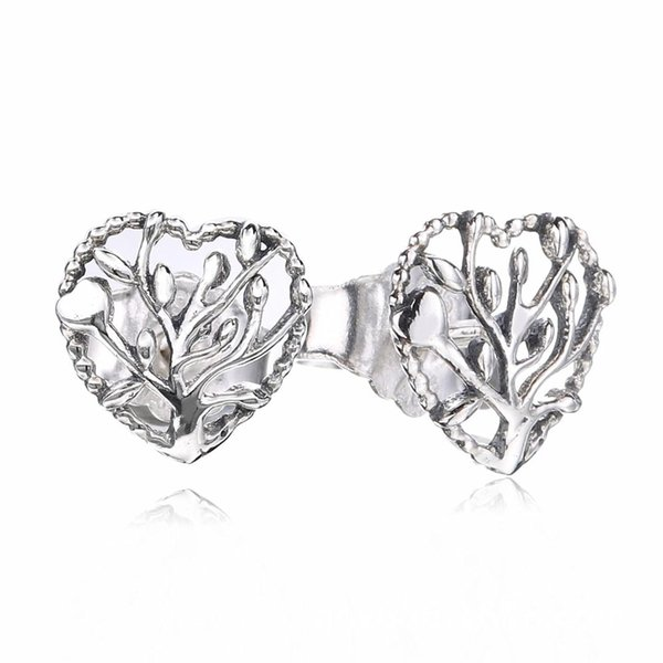 925 Ayar Gümüş Pan Küpe Temizle Kristal Kalp Şekli Saplama Küpe Kadınlar Takı Düğün Hediyesi Için