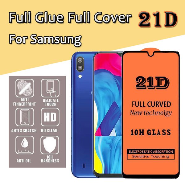 21D Full Glue Cover Protector de pantalla de película de vidrio templado transparente Protector para Samsung A40S A6S A8S A9S A20E J2 J4 Core A9 Pro a prueba de golpes