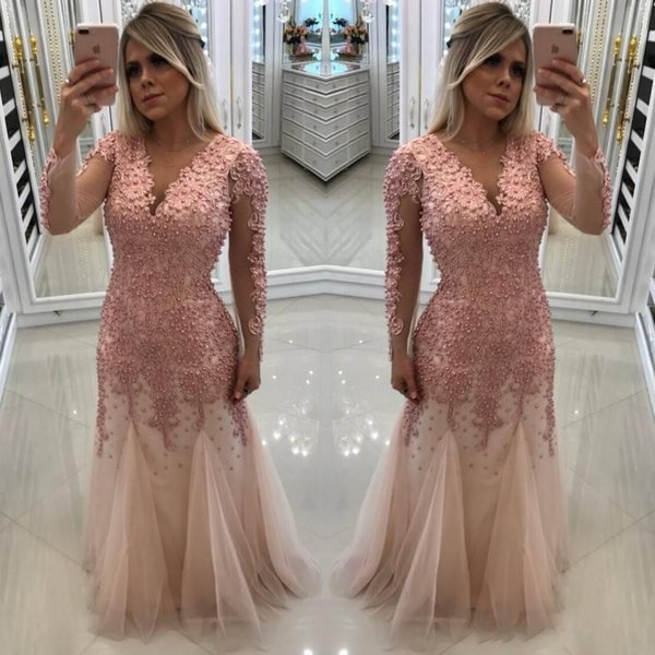 2019 Major Beaded Pink Prom Party Dresses V Neck A Line Evening Gowns Tulle Plus Size Custom Made Special Occasion Wear