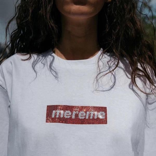19ss melhor qualidade 25th Anniversary Box Logo X Swaroovsk Tee Rua T shirt comemorativo Mens Designer Collar Womens Redondo Com Saco de Compras