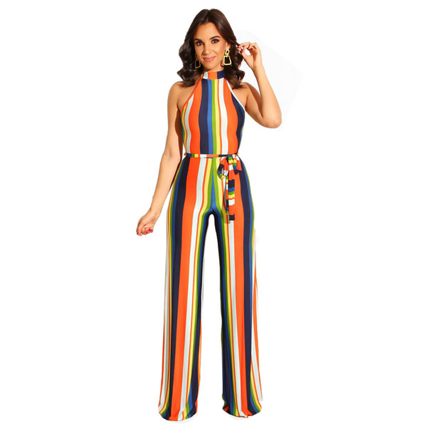 Summer Bodycon Stripe Jumpsuits Women Sexy Party Clubwear Jumpsuits Casual Bowtie Overalls Jumpsuit Plus Size