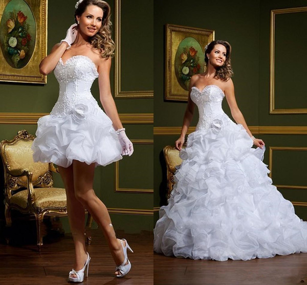 Two piecse Sexy vestido de noiva White Ball Gown Wedding Dresses Strapless Sweetheart lace up Removable Skirt Arabic Mini Short Bridal Gowns