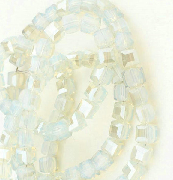 Wholesale 100PCS white opal CUBE SQUARE Crystal AB GLASS Loose Spacer BEADS DIY JEWELRY MAKING 4MM 6MM 8MM 10MM