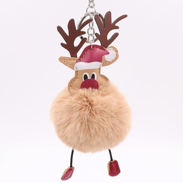 wholesale 10pcs/lot Santa Claus elk key ring Fake Rabbit fur ball Fluffy Key Chain Holder porte Car Keyring Christmas ornament gift