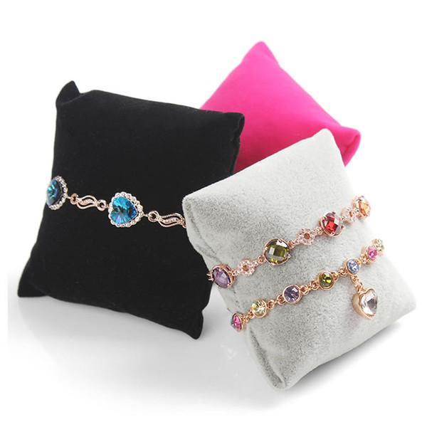 JAVRICJK 1PC Pillow Jeweley Holder Velvet Bracelet Bangle Watch Chain Pillow Holder Jewelry Display Stand Organizer