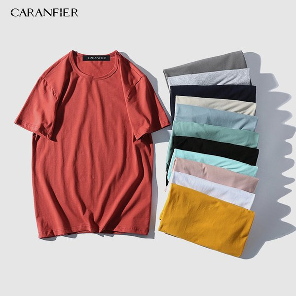 Caranfier New Arrive Summer T Shirt Men Solid Color 100% Cotton 11 Colors Loose Short Sleeve Tshirt Brand Clothing Q190521