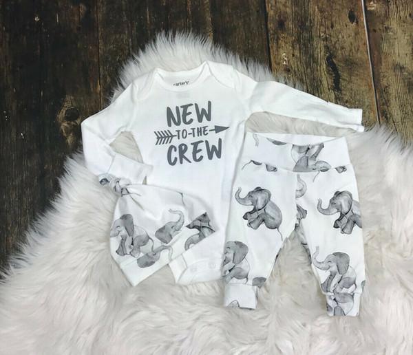 Bebé recién nacido niño camisetas Pantalones mameluco elefante medias de sistemas de la ropa sombrero trajes de ropa de chándal