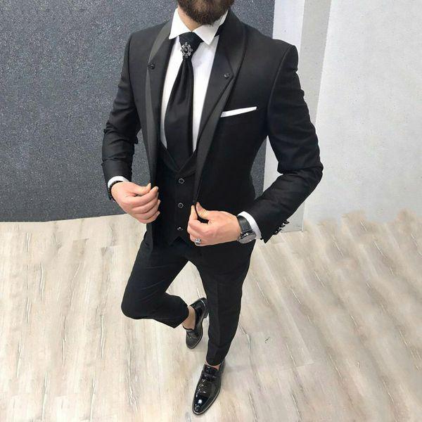 Son Coat Pantolon Düğün Smokin Kostüm Homme Groomsmen Blazer Terno Masculino 3 Adet Man Kıyafet Black Damat Suits Tasarım