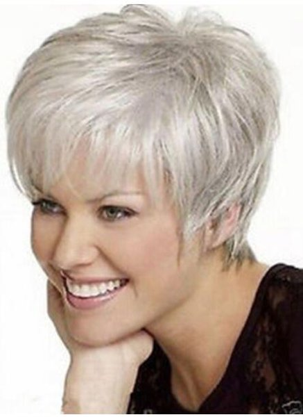 FREE SHIPPING ++ Beaut iful lady Short Straight Silver Grey Synthetic Hair Wigs