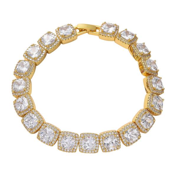 Men Square zircone oro 10 millimetri di Hip Hop della catena del braccialetto strass completa cubana catena gioielli Cooper moda unisex