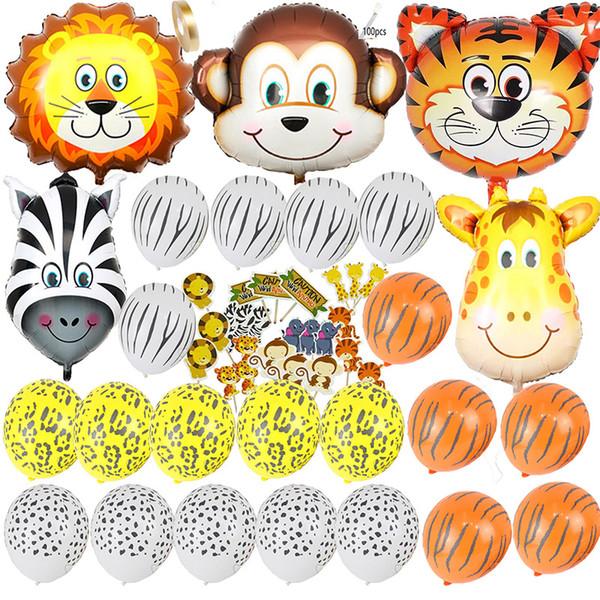 Baby shower safari party / ballons birday Ballon en latex / feuille décorations de fête d'anniversaire enfants / adultes Safari Jungle Zoo Ballon à tête d'animaux