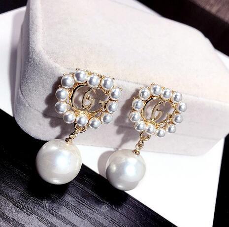 top popular 78 Wholesale Double Layers Earrings Letters Dangle Drop Pearl Earring Gold Silver Ear Studs For Women Wedding Party Jewelr 2019