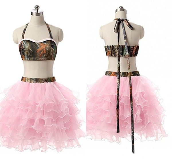 Camo Dress Pink Homecoming Dresses Cheap 2019 With Ruffles Halter Backless 2 Piece Graduation Dress Short Prom Gowns Custom Made Plus Size