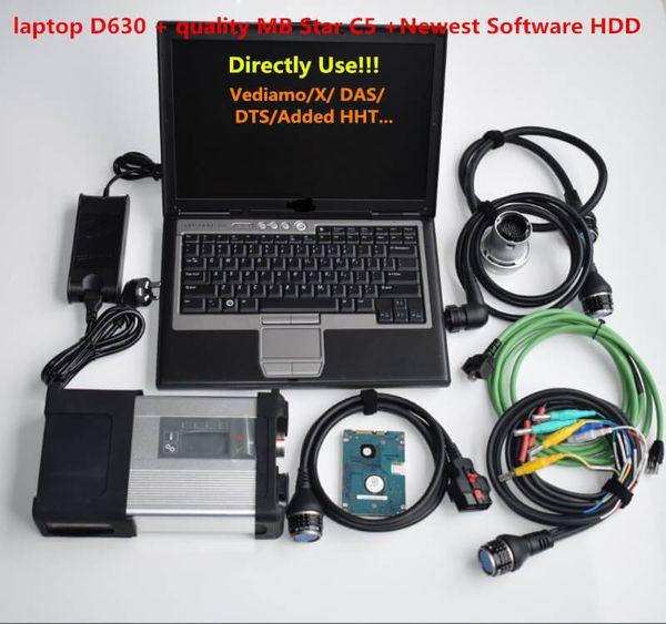 MB-Stern C5 SD Connect C5 Diagnosewerkzeug für Autostamm mb Stern C5 2019.09V soft-ware 320G HDD vediamo / X / DSA / DTS in D630 Laptop