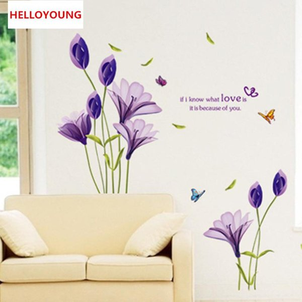 DIY Home Decorative Purple Lilies Bedroom The Sitting Room Removable Wall Stickers Waterproof Rural Wallpapers Mural