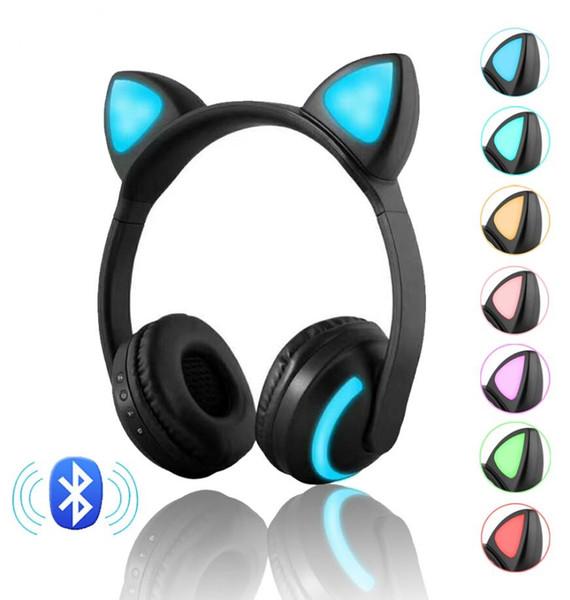 Auriculares estéreo Bluetooth con oreja de gato Parpadeante Auriculares con forma de oreja de gato Auriculares para juegos Auriculares 7 colores Luz LED