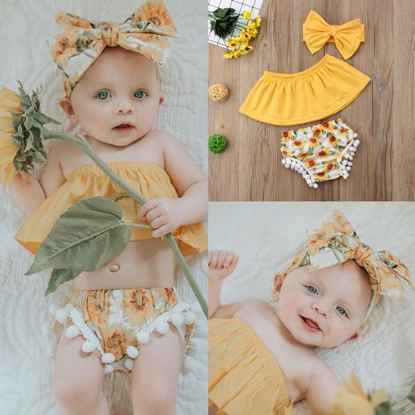 3 Stücke Neugeborenen Baby Mädchen Outfits Kleidung Schulterfrei Tops Shorts Stirnband