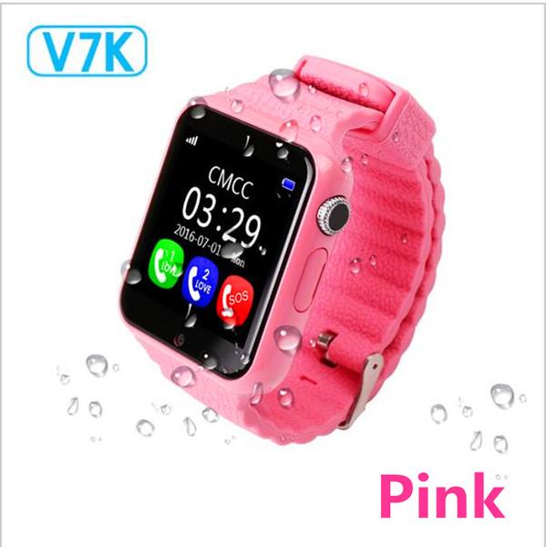 Crianças de Segurança Anti Perdido GPS Tracker impermeável relógio inteligente V7K 1,54 '' Camera Tela Kid SOS Emergência Android PK Q50