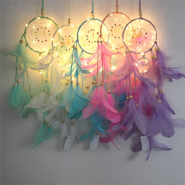 top popular LED Wind Feather Dreamcatcher Girl Catcher Network LED Light Dream Catcher Bed Room Hanging Ornament Craft Gift Home Decoration 5 color 2021
