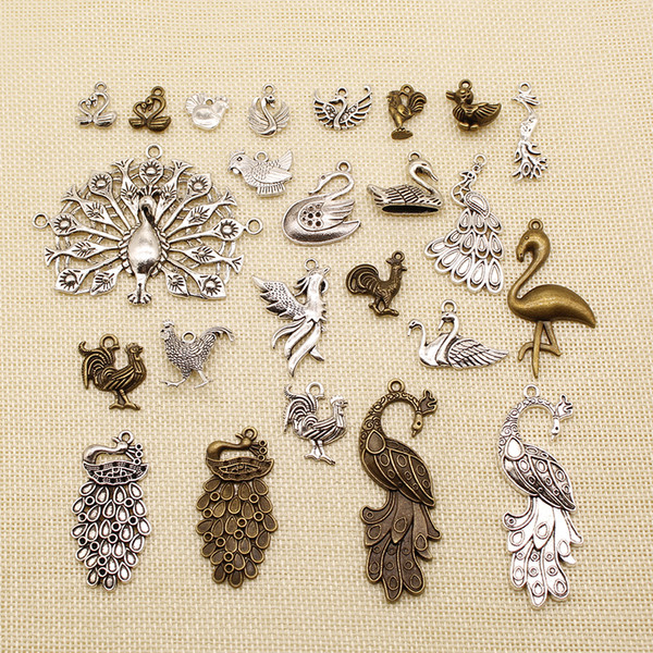 40 Pieces Wholesale Jewelry Lots Animal Peacock Egret Chicken Duck Goose Swan HJ074
