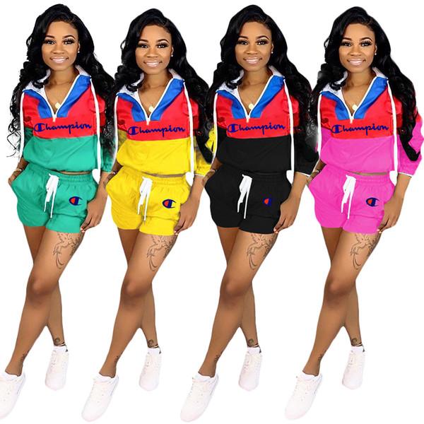 C lettera tute donne patchwork cerniera manica lunga coulisse shorts vestito 2 pz / set vestito set abbigliamento LJJO6766