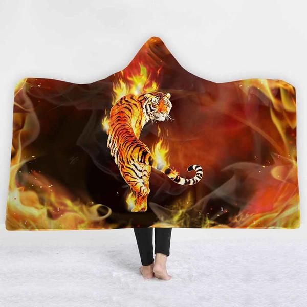 Coperta con cappuccio della tigre del re della foresta per adulto bambino Inverno corallo pile felpa con cappuccio coperta sul divano letto plaid caldo tiro