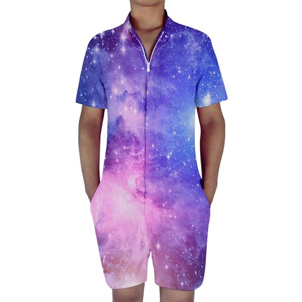 2018 Hign Quality 3d Print Mens Romper Galaxy Space Male Single Breasted Jumpsuit Cargo Short Pants Trousers Overalls Dropship