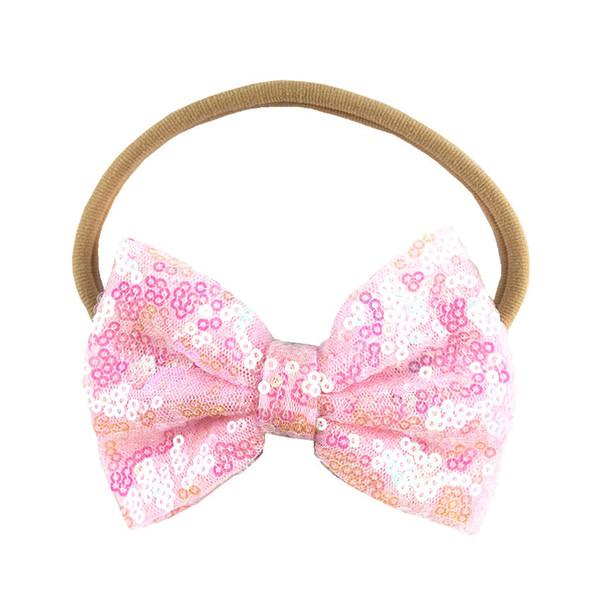 30 pcs muito, novo 4 polegada sombra lantejoula arco bordado nylon headband acessórios de moda bonito