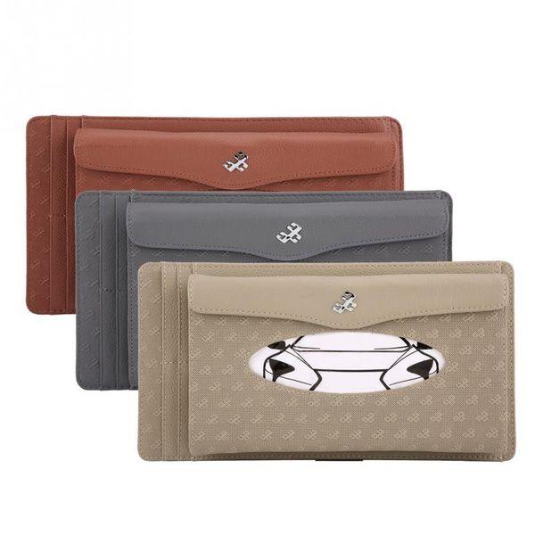 Car Sun Visor Synthetic Leather Hanging Tissue Towel Box Napkin Card Storage Box