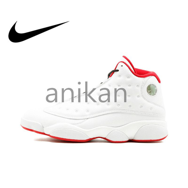best service 3c874 5842b Original Authentic Air Jordan 13 Retro3M Mens Basketball Shoes Airs Jordans  Retro 13s XIII Sneakers White Red Medium Cut Breathable Sport Outdoor Good  ...