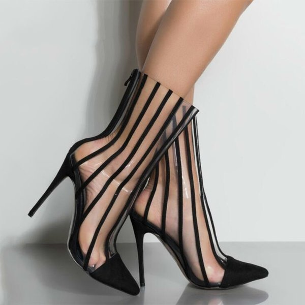 QWEDF Mode PVC Transparente Stiefel Sandalen Spitz Dünne High Heels Schuhe Klar Frauen Stiefel Schwarz Gestreiften SY-46