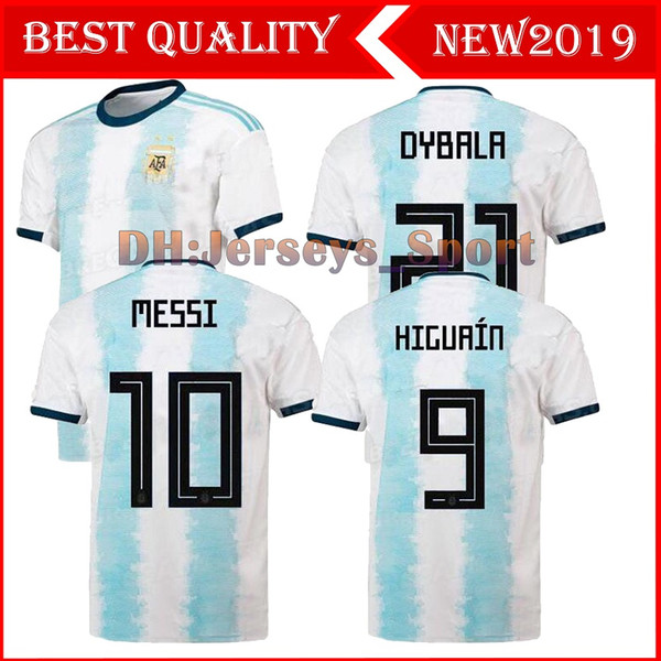 Argentinien 2019 Copa America Soccer Jersey Home Blau Weißes Fußball-Shirt Messi Dybala AGUERO Fußball-Uniform