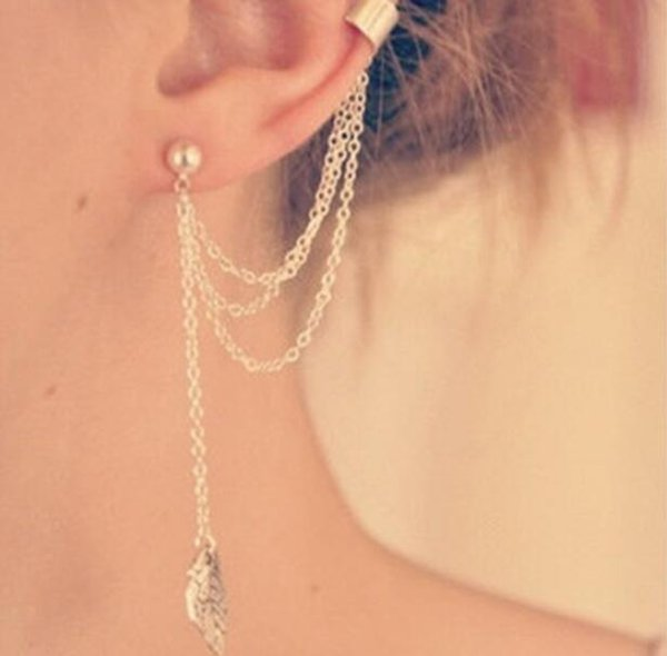 Fashion Personality Women Earrings Ear Cuff Ear Clips Metal Leaves Tassels Earrings Studs Ear Clamps Golden silvery 10 pairs/lot