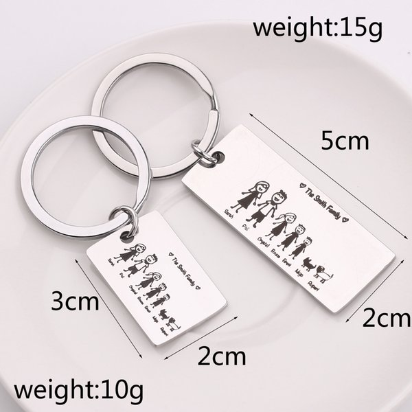 valentines day gifts Love Family Customized Keyrings Personalized Hand Craved The Smith Family Keychain Family Member Name