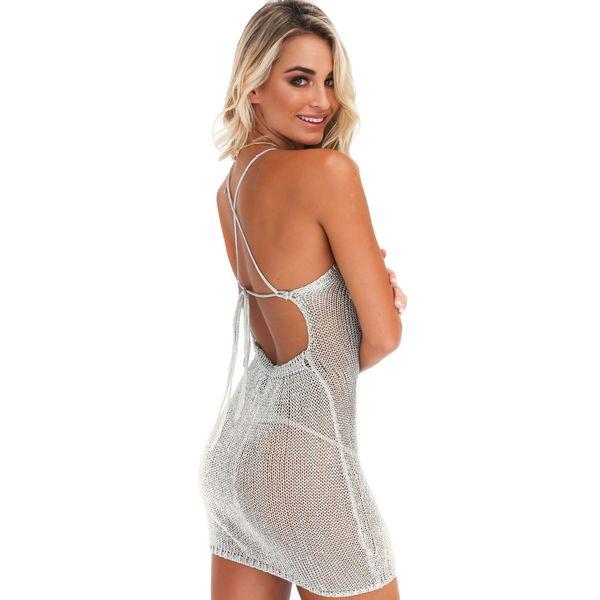 d6bd35fd78 Sexy Women Sheer Knitted Dress Strap Halter Criss Cross Backless Beachwear  Party Nightclub Mini Dress Pink/Grey Beach Tunic 2019