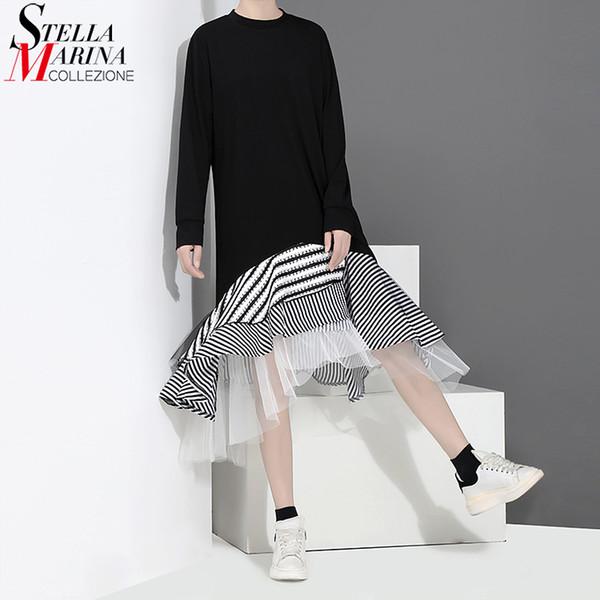 Neue 2018 Herbst Frauen Schwarz Casual Trompete Kleid Langarm Layered Mesh Rüschen Ukraine Stilvolle Midi Party Kleider Stil 2048 Q190419